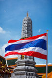 Thailand flag and Buddhist temple Stock Image