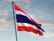 Thailand flag, 3D silk Thai colors 3D rendering. In an outdoor environment. Flag is made of silk, the sky is blue, sunrise vector illustration