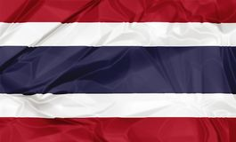 The Thailand Flag. 3D waving Thailand flag with on fabric silk background illustration royalty free illustration