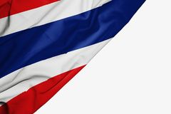 Thailand flag of fabric with copyspace for your text on white background vector illustration