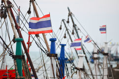 Thailand flag on fisherman boat Stock Images