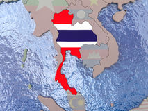 Thailand with flag on globe Stock Images
