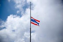 Thailand flag half-mast on pole to mourn Royalty Free Stock Photo