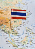 Thailand flag on map stock photo