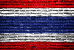 Thailand flag painted on old brick wall Royalty Free Stock Image