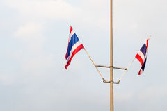 Thailand flag poles. Street lights on day Stock Image