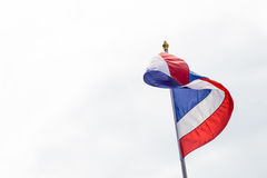 Thailand flag poles. Street lights on day Royalty Free Stock Images