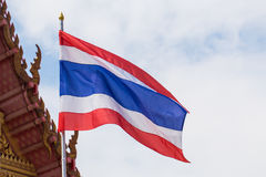 Thailand flag poles. Street lights on day Royalty Free Stock Photo