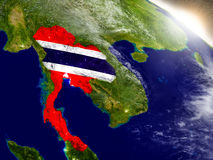 Thailand with flag in rising sun Royalty Free Stock Photography