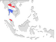 Thailand flag and South East asia map Royalty Free Stock Photography