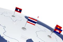 Thailand flag. Country flag with chrome flagpole on the world map with neighbors countries borders. 3d illustration rendering flag Royalty Free Stock Image