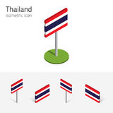 Thailand flag, vector set of 3D isometric flat icons. Thai flag Kingdom of Thailand, vector set of isometric flat icons, 3D style, different views. 100% editable Stock Photo