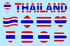 Thailand flag vector set. Different geometric shapes. Flat style. Siam flags collection. Can use for sports, national vector illustration