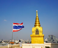 Thailand flag waving on Golden Mount Stock Photos