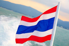 Thailand flag waving on sea background Royalty Free Stock Photo
