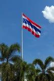 Thailand flagga med blå himmel Arkivbild