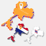 Thailand flags on map element and 3D isometric shape isolated on background Stock Photography