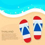 Thailand Flip-flops Summer Beach Sand Flag Color Stock Images