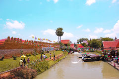 Thailand Floating Market in Ayutthaya Royalty Free Stock Photos
