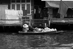 Thailand floating market boat seller  black white Royalty Free Stock Photos