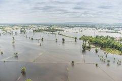 Thailand floods, Natural Disaster. Aerial photograph Stock Images