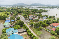 Thailand floods, Natural Disaster. Aerial photograph Stock Photos