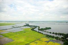 Thailand floods, Natural Disaster,. Helicopter surveys flood royalty free stock photography