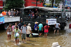Thailand floods - People on Royal Thai Army truck Stock Image
