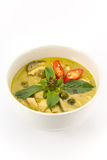 Green curry soup. Green Curry With Chicken isolated on white background Royalty Free Stock Images