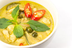 Green curry soup. Green Curry With Chicken isolated on white background stock photography
