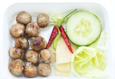 Thailand food, Isaan sausage. Thailand  food is Isaan sausage grilled  with fresh vegetables Stock Photography