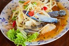 Thai papaya salad. Thailand food papaya salad Royalty Free Stock Photography