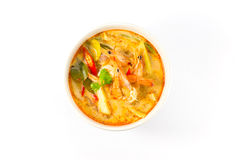 Tom Yum Kung Soup. Spicy soup with shrimp isolated on white background Royalty Free Stock Images