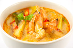 Tom Yum Kung Soup. Spicy soup with shrimp isolated on white background Stock Images