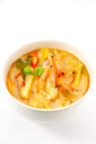 Tom Yum Kung Soup. Spicy soup with shrimp isolated on white background Royalty Free Stock Photo