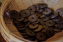 Thailand forntida mynt 1909 Arkivbilder