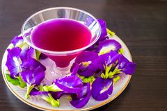 Thailand fresh healthy herbal beverage An-chan juice with lemon juice butterfly pea flower.  royalty free stock photography