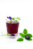 Thailand fresh healthy herbal beverage An-chan juice with lemon juice. Thailand fresh healthy herbal beverage An-chan juice with lemon juice butterfly pea royalty free stock photos