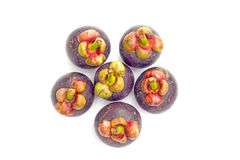 Thailand Fruits Mangosteen on white background Royalty Free Stock Photo