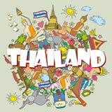 thailand Gesetzte thailändische Farbvektorikonen und Symbole, Vektor illu lizenzfreie abbildung