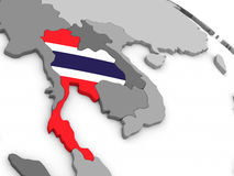 Thailand on globe with flag Stock Photos
