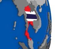 Thailand on globe with flag Stock Image