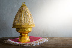 Thailand Gold tray with pedestal Royalty Free Stock Photos