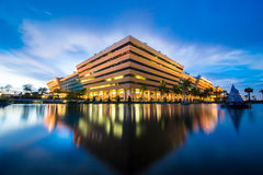 Thailand Government Complex. Reflection of Government Complex Building shines at Dusk in Bangkok Thailand Stock Image