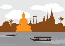 Thailand gränsmärke- och loppställe, tempel, bakgrund Royaltyfri Bild