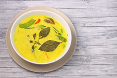 Thailand green curry. Hot and spicy chicken green curry on a wood table top Stock Photos