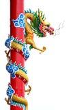 Thailand guld- drakestaty. Arkivbilder