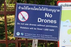 Sign warning against operating drones in thailand royalty free stock photography