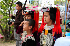 Thailand hill tribe girl and boy with traditional costume Royalty Free Stock Photos