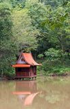 Thailand House  The smaller built above the ground water in the swamps. There is a reflection of the House on the surface of the water. The back is a natural Royalty Free Stock Photos